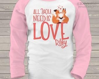 Valentine shirt all you need is love valentine fox raglan shirt - adorable Valentine's Day shirt   snlv-022-r