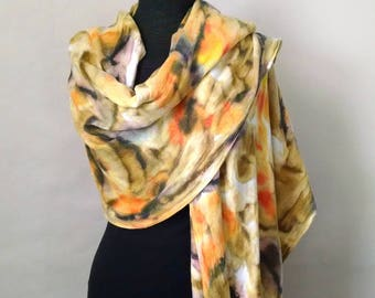 Hand-painted Wrap in Coral and Brown, Cozy Rayon Challis, Pashmina Wrap, Blanket Scarf, 22x74 inches, Wrap with Fringe
