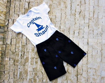 New Dad Gift - Boys Short Set - Fathers Day  - Nautical Birthday Party - Little Sailor Boy - Baby Shower Gift - Photos - 3 months to 8 years