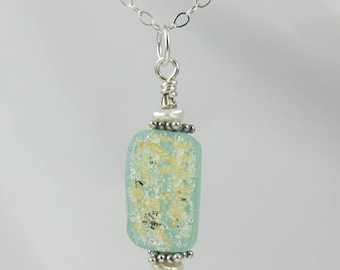 sea foam green and keshi pearl ancient Roman glass sterling silver necklace 18 inch FREE SHIPPING OOAK