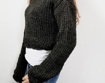 Hand knit woman cotton sweater cropped top black pullover sweater