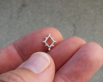 Etruscan silver studs - Tiny stud earrings - sterling silver stud earrings - tribal earrings - dainty studs - geometric studs