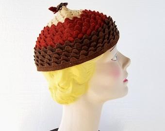 Vintage 1930s Cap | Acorn Hat | Felt Beanie