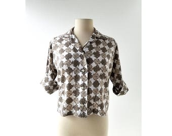 Vintage 1960s Blouse | Organized Chaos | Abstract Blouse | 60s Shirt | Large L