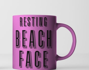 Resting Beach Face - Metallic Pink - Gold or White