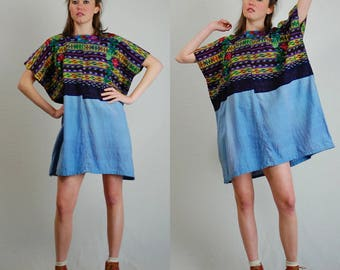 Huipil Top Vintage Handmade Woven Cotton Ethnic Guatemala Huipil Tunic (one size)