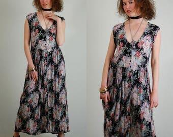 Floral Grunge Dress Vintage Sheer 90s Black Crinkled Gauze Floral Grunge Maxi Dress (s m)