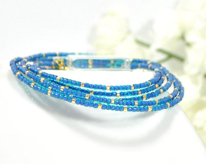Multi-Layered Bracelet Blue Gold 5 Wrap Bracelet 36-39 inch