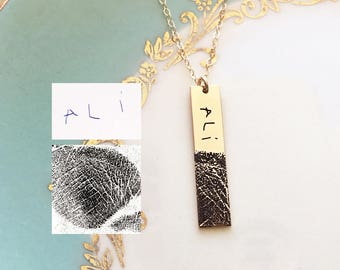 Actual Fingerprint Necklace - Thumprint Necklace, Fingerprint Jewelry, Engraved Thumbprint, Custom Engraved, Personalized Gift, Finger Print