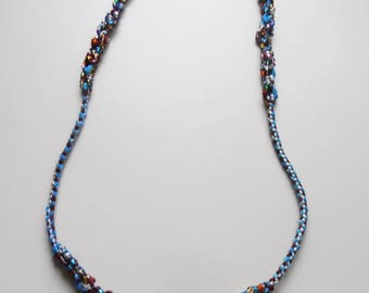 Bleu Océan kumihimo necklace