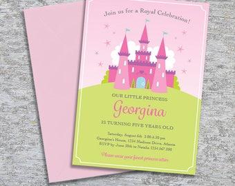 Princess Party Invitation – DIY Printable Personalized – Fairytale Castle (Digital File)
