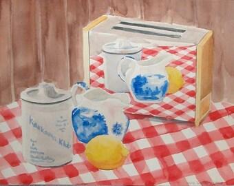Original Watercolor Artwork Toaster on Checkered Tablecloth