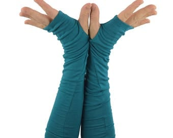 Arm Warmers in Teal Blue - Fingerless Gloves