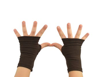 Toddler Arm Warmers in Teak Brown - Chocolate Brown Fingerless Gloves