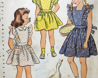 Simplicity 2056 - 1940s Vintage Girls Dress or Pinafore Apron - Frilly & Adorable - Size 6 - Factory Folded - Goose on Envelope - Beautiful