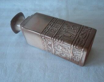 "Vintage Frankoma Mayan Aztec Decanter Vase Desert Gold Frankoma 7JH Sapulpa Clay 9"" high 1960s Estate Find"
