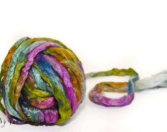 CHRYSALIS Hand Dyed Luxury Mulberry Silk Top, Bombyx Silk, Cultivate Silk Roving for Spinning, Felting, Blending - 1 oz