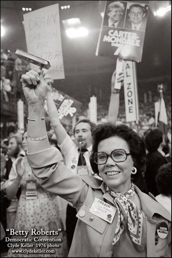 BETTY ROBERTS, Democratic Carter Nomination, Clyde Keller photo, 1976