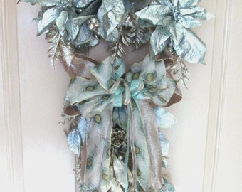 Icy Blue Aqua & Taupe Poinsettia Peacock Ribbon Holiday Silk Vertical Christmas Wreath Door Swag