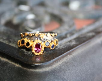 Unique Stunning 925 Sterling Silver Ring /band 14K gold ,Rhodolite natura ruby  and Sapphire stone One of a kind , Stunnig  so Elegant