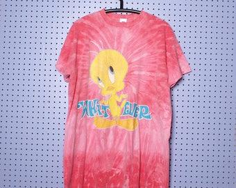 Vintage 90s Tweety Bird Tie Dye T-shirt Looney Tunes