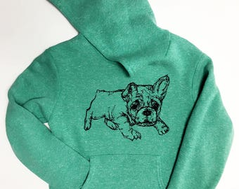 French Bulldog - Youth 8- Tri-Blend Pullover Hoodie (Green)