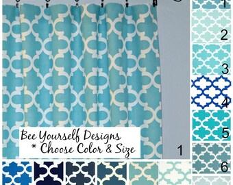 Blue Moroccan Curtain Panels, Pair of Rod Pocket Panels - Fynn French Quatrefoil,Trellis Premier Prints, Choose color and size