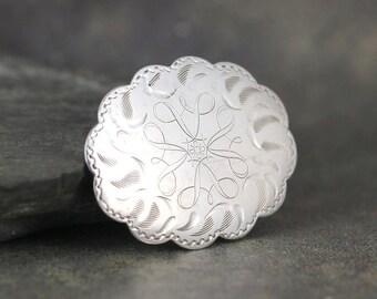 Vintage Sterling Silver Pin Brooch - Engraved Design - Oval Shape - Scarf Pin - Lapel Brooch