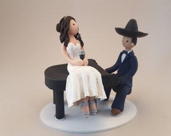 Bride & Groom with a Piano Custom Handmade Wedding Cake Topper