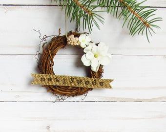 Newlywed Christmas Ornament - Newlywed Christmas Gift - Floral Christmas Ornament - Our First Christmas - Rustic Christmas Decor - Wreath