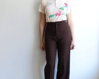 Vintage 70's Brown Levi's Wide Leg Trousers/ Levi Strauss High Waisted Pants/Chocolate Brown/size 28 29