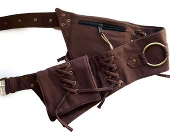 Canvas Utility Belt   Brown Ring, 4 pockets   travel, cosplay, festival