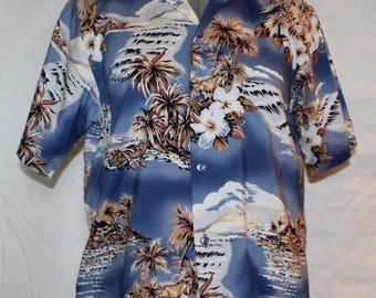 Vintage Boys Short Sleeve, Hawaiian Print, Size 16