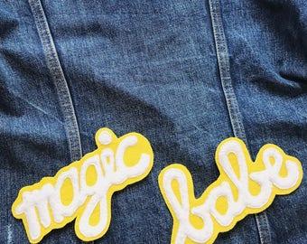 Magic Babe Patch Cursive Font Sew On Badge Felt Applique Embellishment Yellow White Denim Jacket Patch
