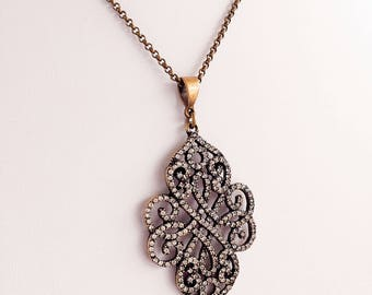 Victorian Necklace - Romantic - Filigree Pendant - White Diamond Crystal - ENCHANTMENT