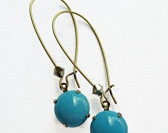 Clearance 50% SALE Turquoise Earrings - Long Dangle Earrings - Spring Scuba Blue - d'ORSAY Turquoise