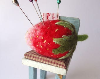 Original Needle Felted Strawberry  Pin Cushion