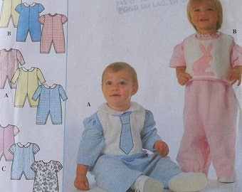 Baby Romper Pattern Simplicity 7995 Baby Bib Pattern Size Newborn to Large Infant- Uncut