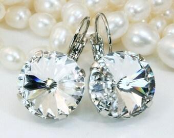 Clear Crystal Earrings Bridal Clear Swarovski Drop Silver Earrings Clear Leverbacks Large White Crystal earrings 14mm,Silver,Clear,SE106