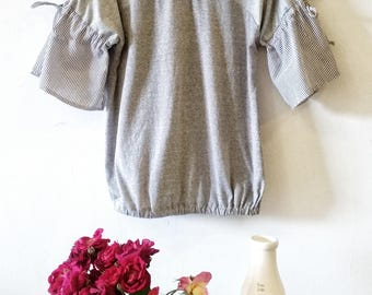 Women's Ruffle Tops in Grey, Summer Tops for Women, Women's Cotton Tops with Ruffle Sleeve, Women's Clothing