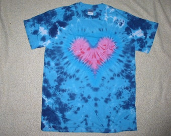 Tie Dyed Shirt, blue with heart, AMT1
