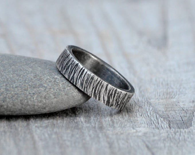 Europa Textured Wedding Band in Sterling Silver With Personalized Message Inside, 5.5mm Wide Rustic Wedding Ring