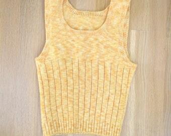 Vintage Tiny Space Dyed Orange Sweater Vest XS xxs 0 1970s 70s 80s 1980s