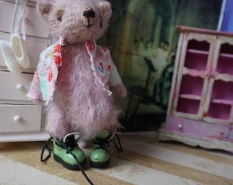 "OOAK Artist Bear - BERTO - 5"" Tall Hand-Dyed ROSE Pink Mohair Collectible Teddy Bear"