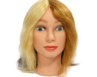 Mannequin Head 4 Hair Colors, Display Model, Color Education Manikin, Green Eye Model, Blond Brown Black Grey, Vinyl Photo Prop