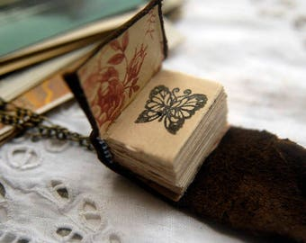 The Little Artist - Mini Wearable Book, Tea-Stained Fold Out Pages - OOAK