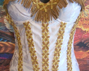 Corset Top, Western, Fringe, Boho, Festival, Pocahontas, Upcycle, size 34