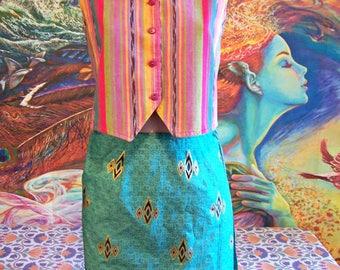 Vest, Guatemala, Cotton, Pink, Rainbow, Striped Vest, size S