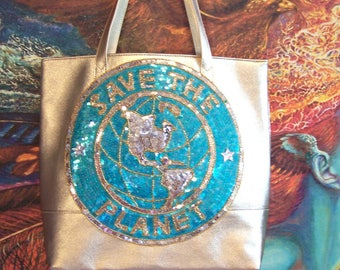 Tote, Gold, SAVE the PLANET, Beaded, Sequin, Luxe, Bag