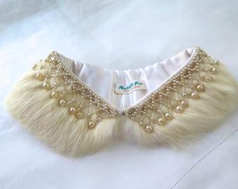 Vintage Rabbit Fur Collar with Faux Pearl Trim Japan 1950's
